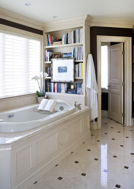 Hunter Douglas Silhouette Bathroom Traditional with Built in Bookcases Crown1