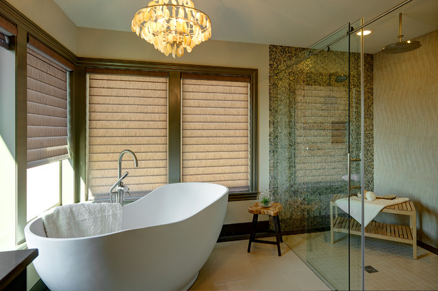 Hunter Douglas Silhouette Bathroom Transitional with Bathroom Chandelier Beige Fabric1