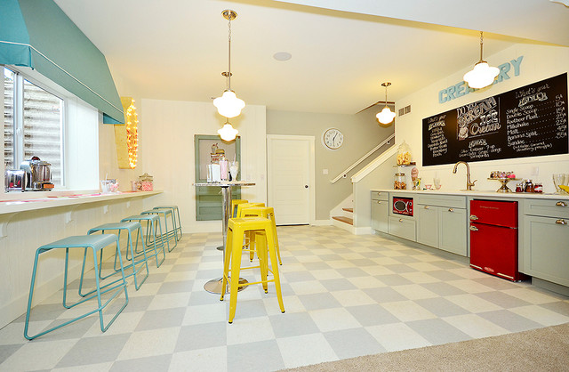 Ice Cream Scooper Basement Traditional with Awning Bar Stools Bright