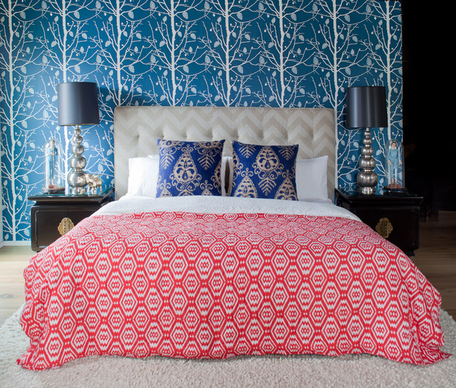 Ikat Bedding Bedroom Contemporary with Bed Pillows Bedside Table