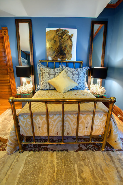 Ikat Bedding Bedroom Eclectic with Area Rug Baseboards Bed