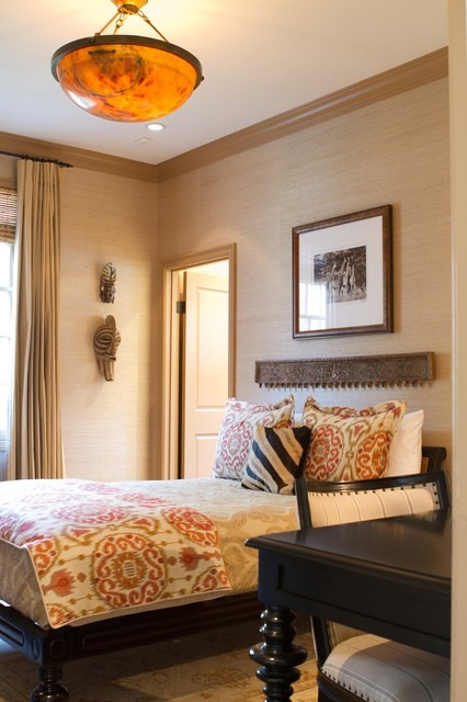 Ikat Bedding Bedroom Traditional with African Mask Alabaster British