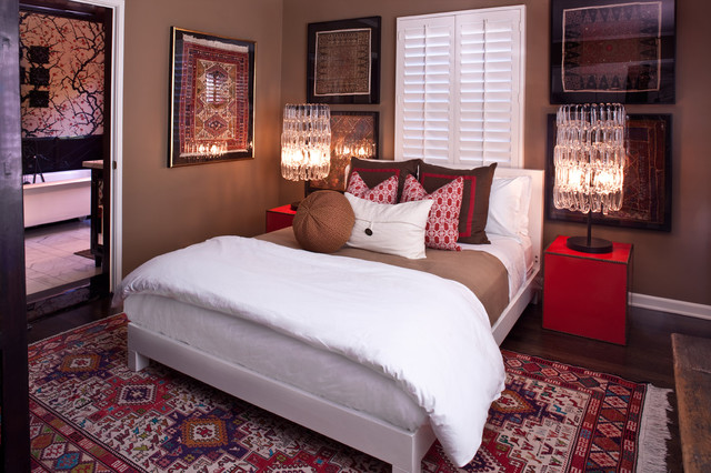 Ikat Bedding Bedroom Transitional with Accent Pillows Brown Chandelier