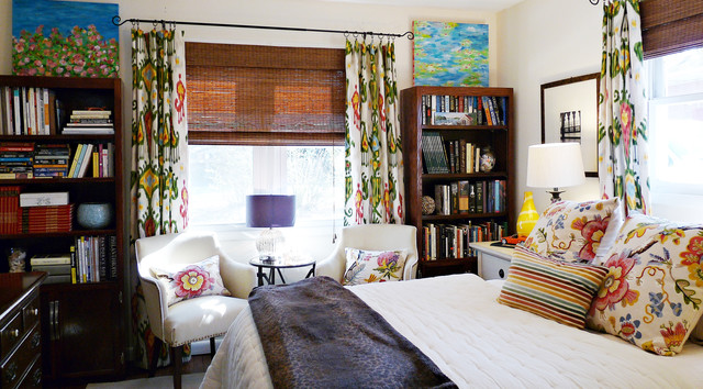 Ikat Curtains Bedroom Eclectic with Bedroom Makeover Bookcase Colorful