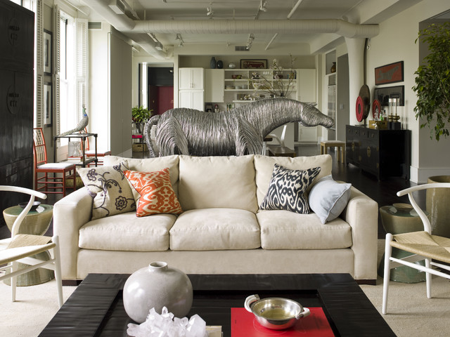 Ikat Pillows Living Room Eclectic with Animal Sculpture Area Rug