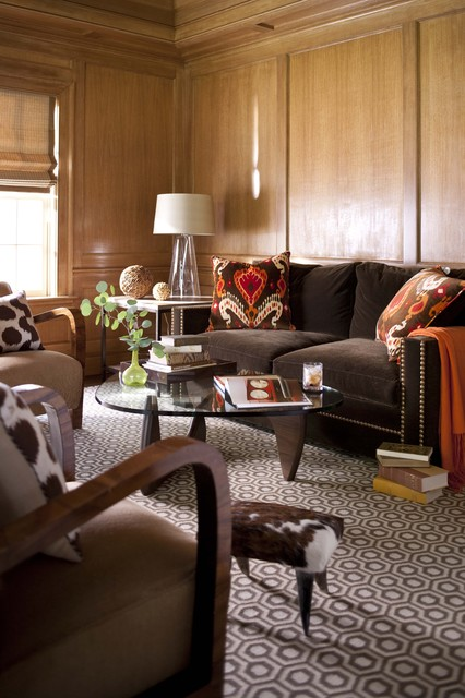 ikat pillows Living Room Transitional with area rug brown sofa