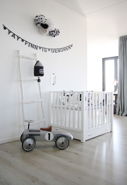 Ikea Baby Cribs Nursery Scandinavian with Banner Black and White