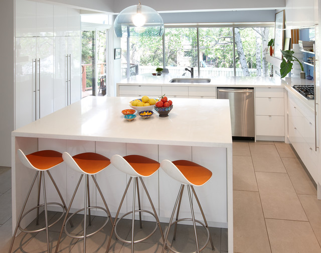 Ikea Barstools Kitchen Modern with Back Painted Glass Backsplash6