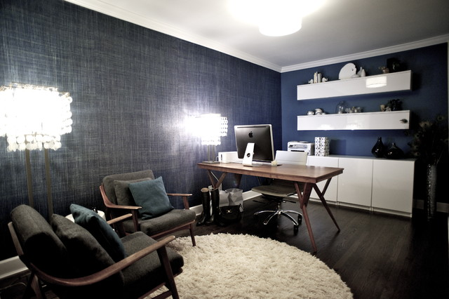 ikea besta Home Office Contemporary with blue wall Danish danish