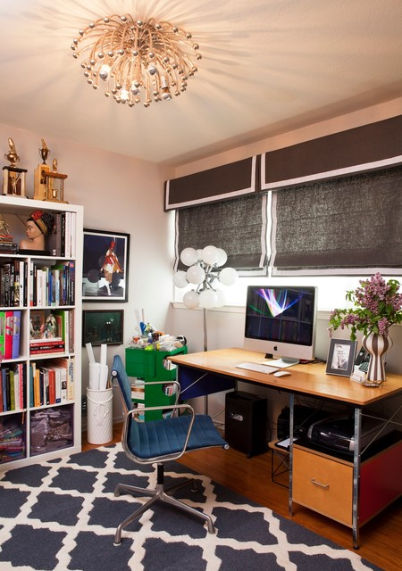 Ikea Blinds Home Office Eclectic with Banded Roman Shades Blue