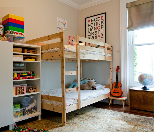 Ikea Bunk Beds Kids Eclectic with Beige Striped Roman Shade