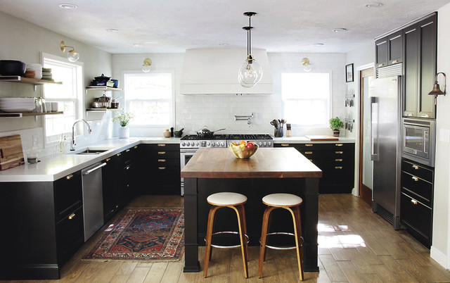 Ikea Butcher Block Countertops Kitchen Transitional with Area Arug Bar Stools