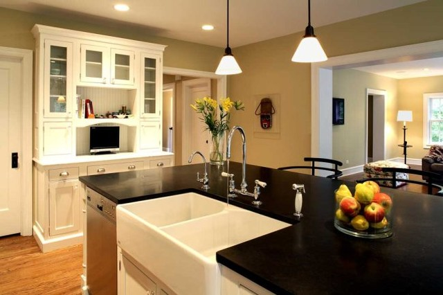 Ikea Farm Sink Kitchen Traditional with Armoire Cabinets Counter Top