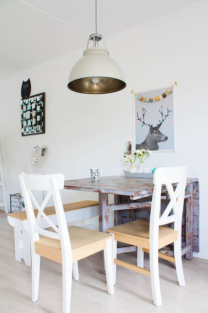 ikea folding chairs Dining Room Scandinavian with banner deer art distressed