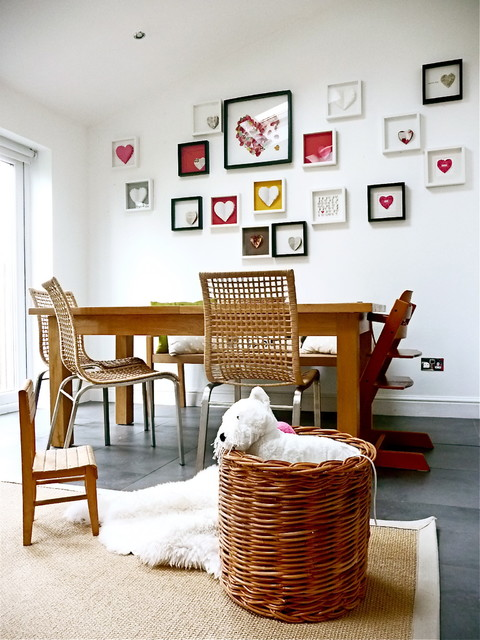 ikea folding table Dining Room Eclectic with art arrangement art display