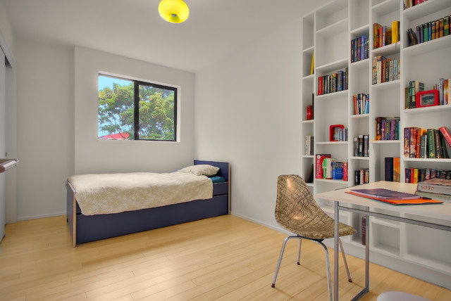Ikea Kura Bed Bedroom Modern with Bamboo Flooring Blue Bed