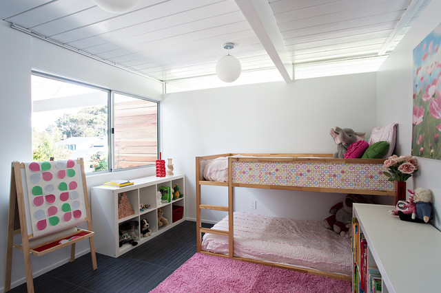 Ikea Kura Bed Kids Midcentury with Black Floor Tile Bunk
