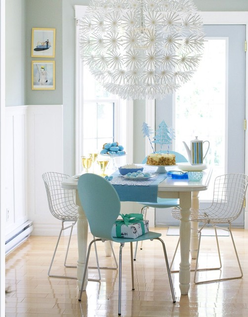 Ikea Lamp Shades Dining Room Contemporary with Bertoia Chairs Blue Chairs1