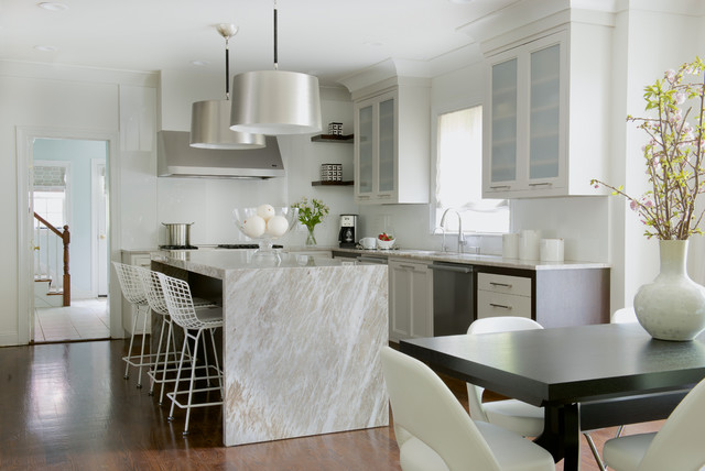 ikea lampshades Kitchen Transitional with beige countertop drum pendant