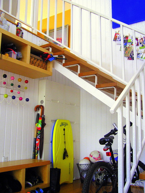 ikea locker Staircase Midcentury with coat rack colorful hanging