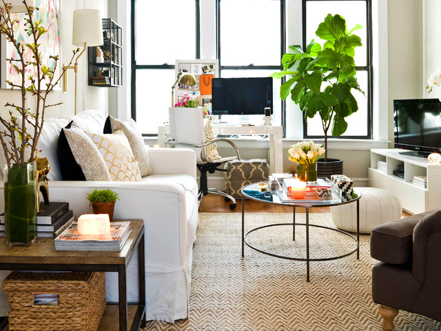 Ikea Media Console Living Room Eclectic with Fiddle Leaf Fig Living