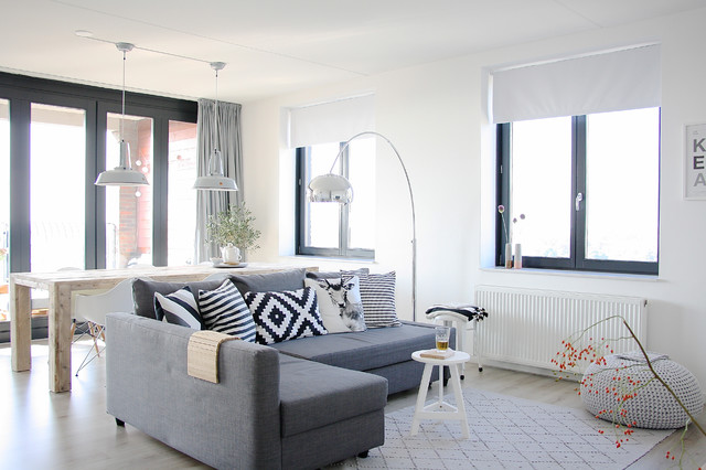 ikea metal bed frame Living Room Scandinavian with black and white pillows