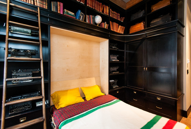 Ikea Murphy Bed Bedroom Eclectic with Books Built Ins Built In