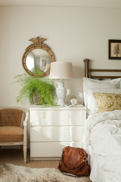 ikea nightstand Bedroom Eclectic with brass cowhide seagrass