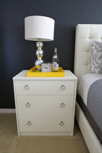 Ikea Nightstand Spaces Eclectic with Alarm Clock Ball Lamp