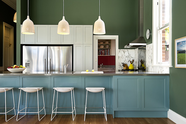 ikea pendant light Kitchen Transitional with blue cabinets colour dark