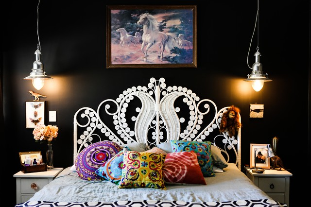 ikea queen bed frame Bedroom Eclectic with 70's bed head animal
