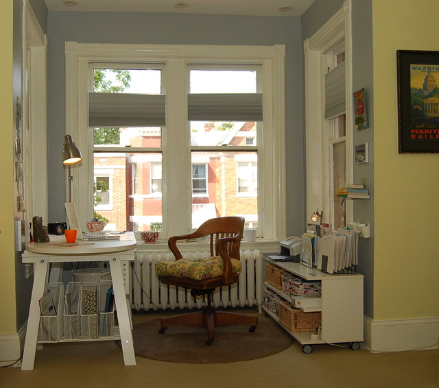 Ikea Swivel Chair Home Office Eclectic with Baseboard Bay Window Blue1