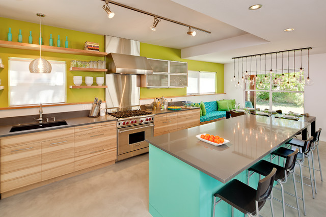 Ikea Track Lighting Kitchen Contemporary with Aqua Blue Bold Colors