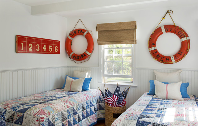 Ikea Twin Beds Bedroom Beach with American Flags Bamboo Shades1