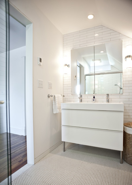 ikea vanities Bathroom Modern with Ikea penny tile sconce