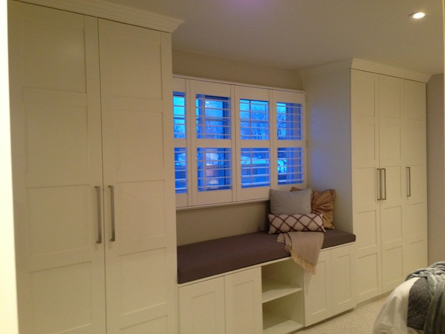ikea wardrobe closet Spaces Transitional with Ikea Adel kitchen cabinets