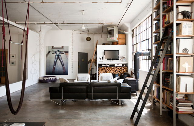 Industrial Bookcase Living Room Industrial with Beige Armchair Beige Wall
