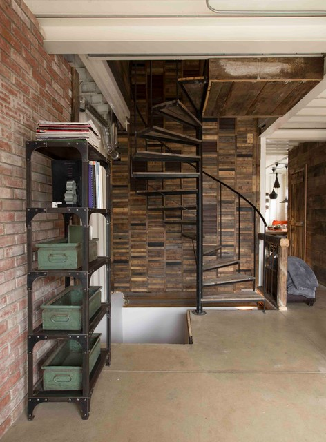 industrial bookcase Staircase Industrial with beton boho brick wall
