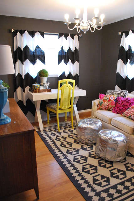 Inexpensive Chandeliers Home Office Eclectic with Chandelier Chevron Curtains Dark
