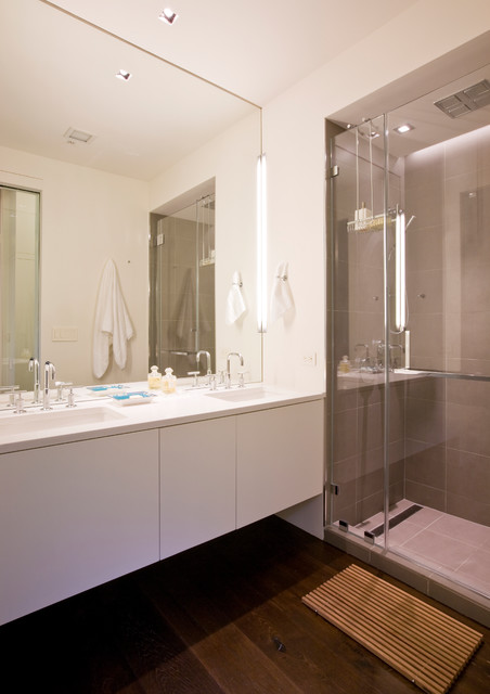 Infinity Drain Bathroom Contemporary with Airy Built in Storage
