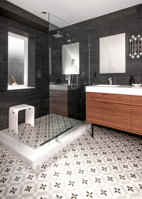 Infinity Drain Bathroom Transitional with Backsplash Bathroom Black And