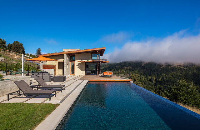 Infinity Drain Pool Contemporary with Contemporary Rustic Mountain Home