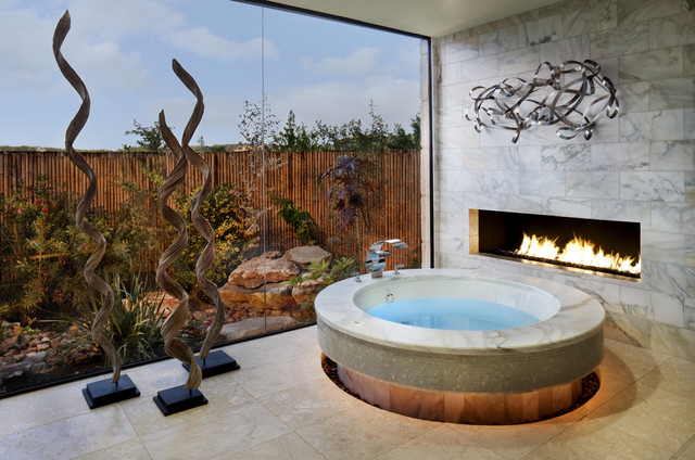 Interlocking Deck Tiles Bathroom Contemporary with Bathtub Fireplace Glass Wall