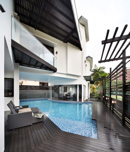 Interlocking Deck Tiles Pool Contemporary with Balcony Black Decking Black