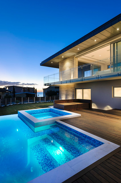 interlocking deck tiles Pool Contemporary with beach home beachfront beige