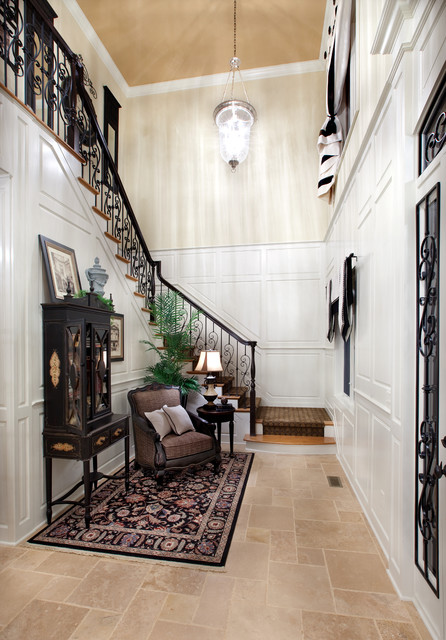 Iron Balusters Entry Mediterranean with Beige Wall Black Balustrade