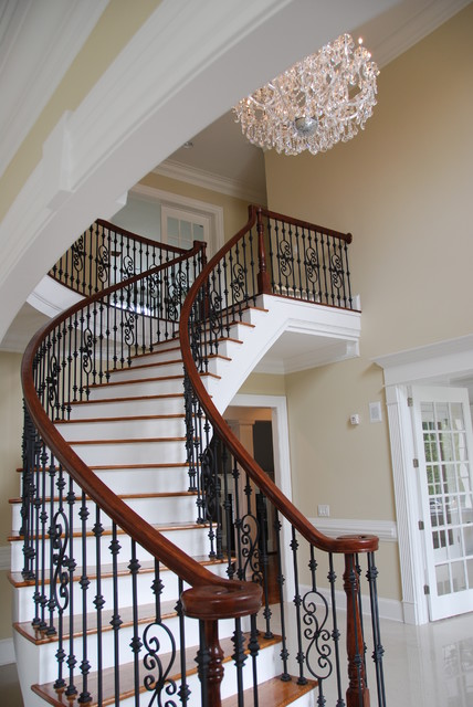 Iron Balusters Staircase Traditional with Balcony Beige Chair Rail