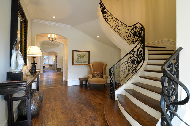 Iron Balusters Staircase Traditional with Console Table Curved Steps