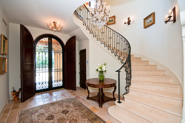 Iron Stair Railing Entry Mediterranean with Arched Front Door Beige