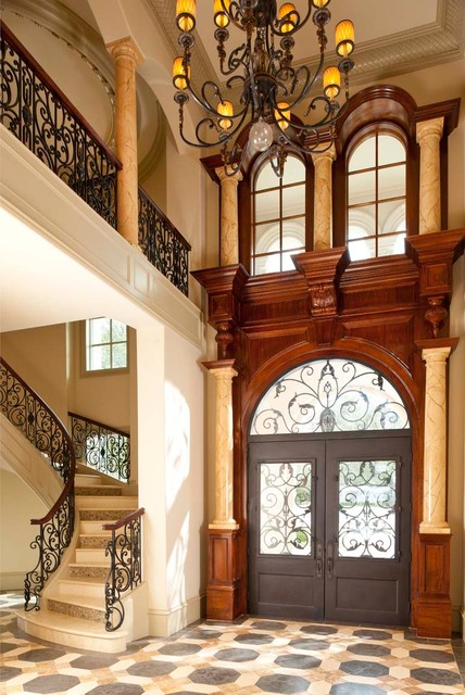Iron Stair Railing Entry Traditional with Arched Window Archway Beige